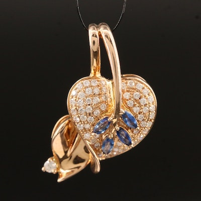 18K Sapphire and Diamond Articulated Foliate Pendant