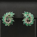 Sterling Silver Emerald and Cubic Zirconia Swirl Button Earrings