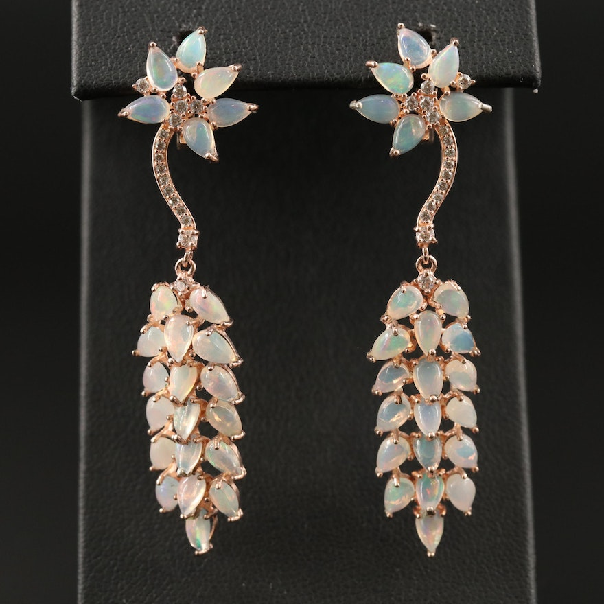 Sterling Silver Opal and Cubic Zirconia Botanical Dangle Earrings