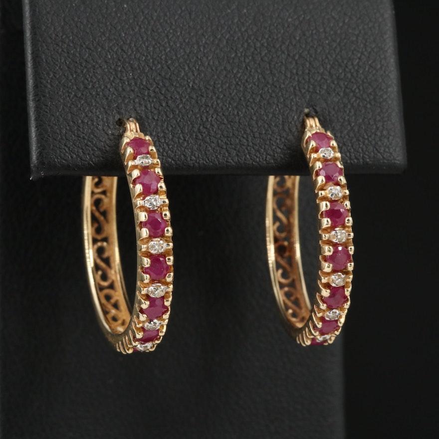 14K Ruby and Diamond Hoop Earrings