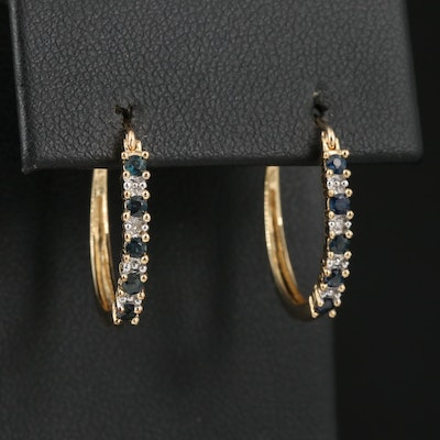 10K Sapphire and Diamond Hoop Earrings