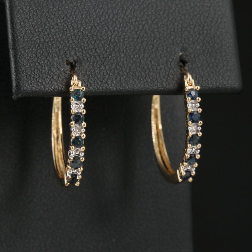10K Sapphire and Diamond Hoop Earrings