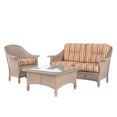 Lloyd Loom All-Weather Wicker Patio Settee, Chair and Coffee Table
