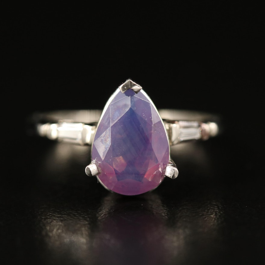 Platinum and 14K 2.44 CT Kashmir Sapphire and Diamond Ring with GIA Report