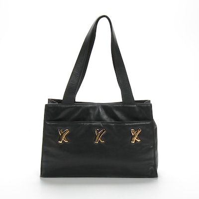 Paloma Picasso Black Leather Tote