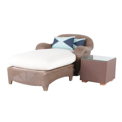 Wicker Chaise Lounge and Synthetic Wicker Glass-Top Side Table