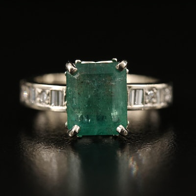 14K 4.20 CT Emerald and Diamond Ring with GIA Report