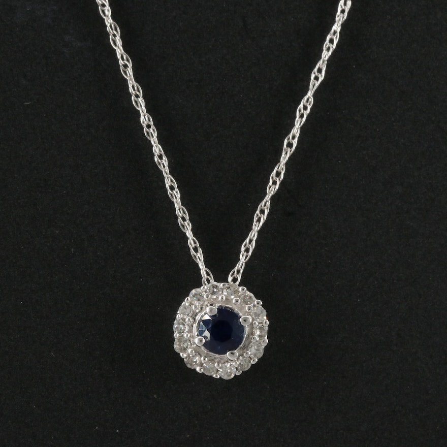14K Sapphire and Diamond Halo Pendant Necklace
