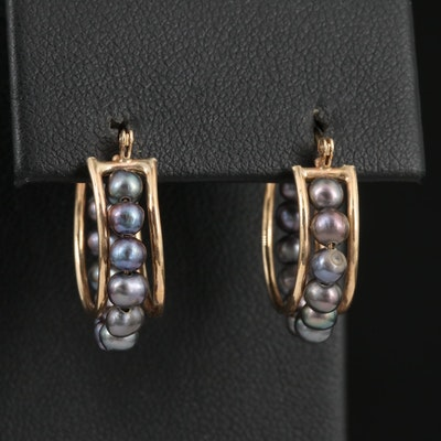 10K Semi-Baroque Pearl Hoop Earrings