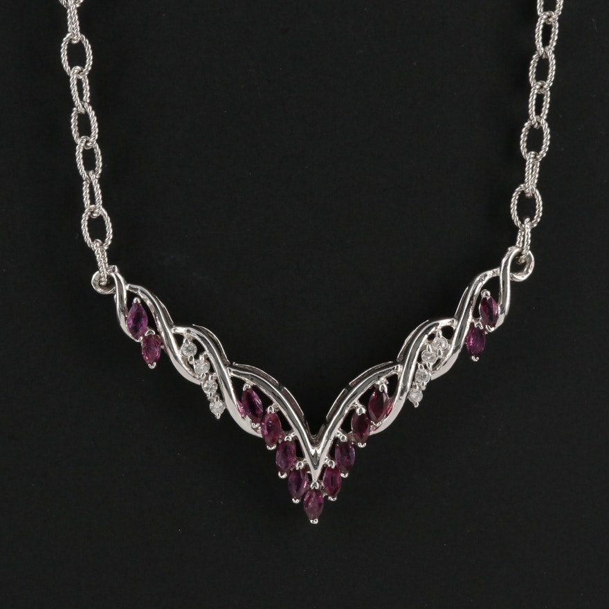 14k Ruby and Diamond Chevron Necklace