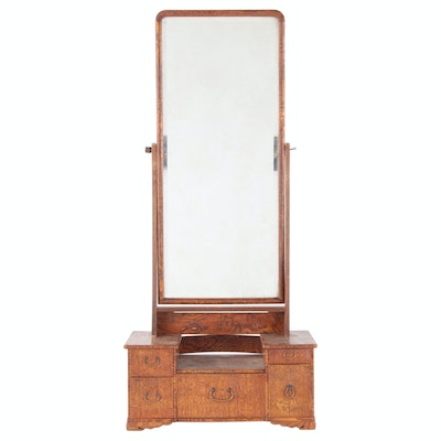 Figured Oak Dresser Top Vanity with Mirror, Early 20th Century