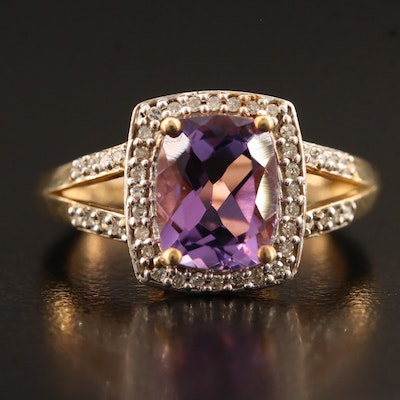Sterling Silver Amethyst and Diamond Halo Square Split Shank Ring