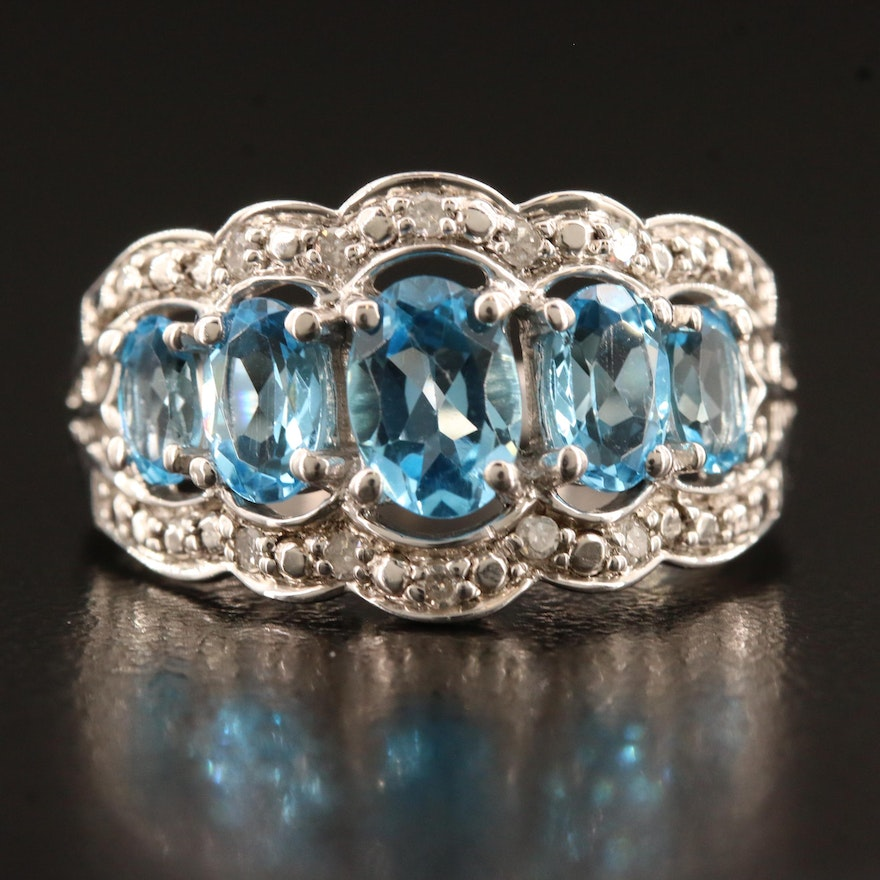 Sterling Silver Topaz and Diamond Graduated Scalloped Ring