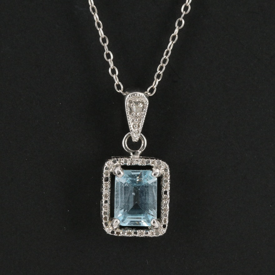 Sterling Silver Topaz and Diamond Halo Necklace