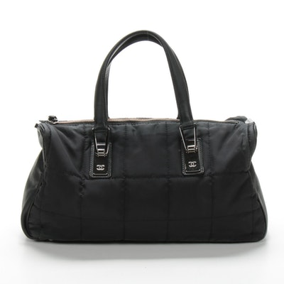 Chanel Satchel in Quilted Black Nylon and Leather