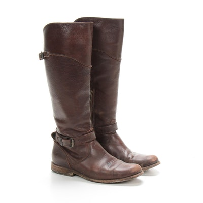 Frye Brown Leather Buckle Riding Boots