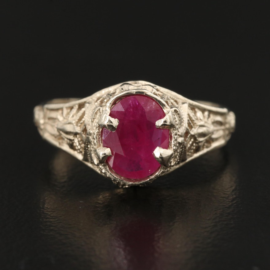 1930s 14K Ring with Ruby Center