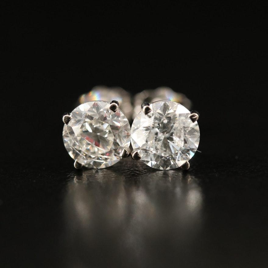 14K 2.03 CTW Diamond Stud Earrings with GIA Report
