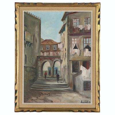 Street Scene Oil Painting, Mid 20th Century