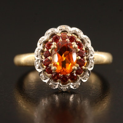 Sterling Silver Oval Citrine and Diamond Ring with Scalloped Edge