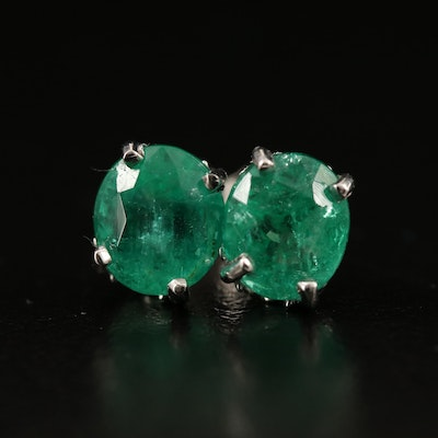 Platinum Scrollwork, 3.71 CTW Emerald Stud Earrings with GIA Reports