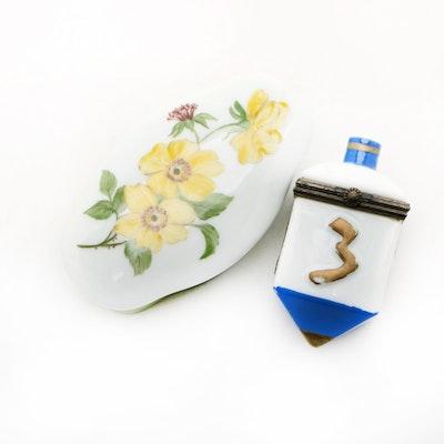 Hand-Painted Porcelain Trinket Boxes Including Dreidel Box