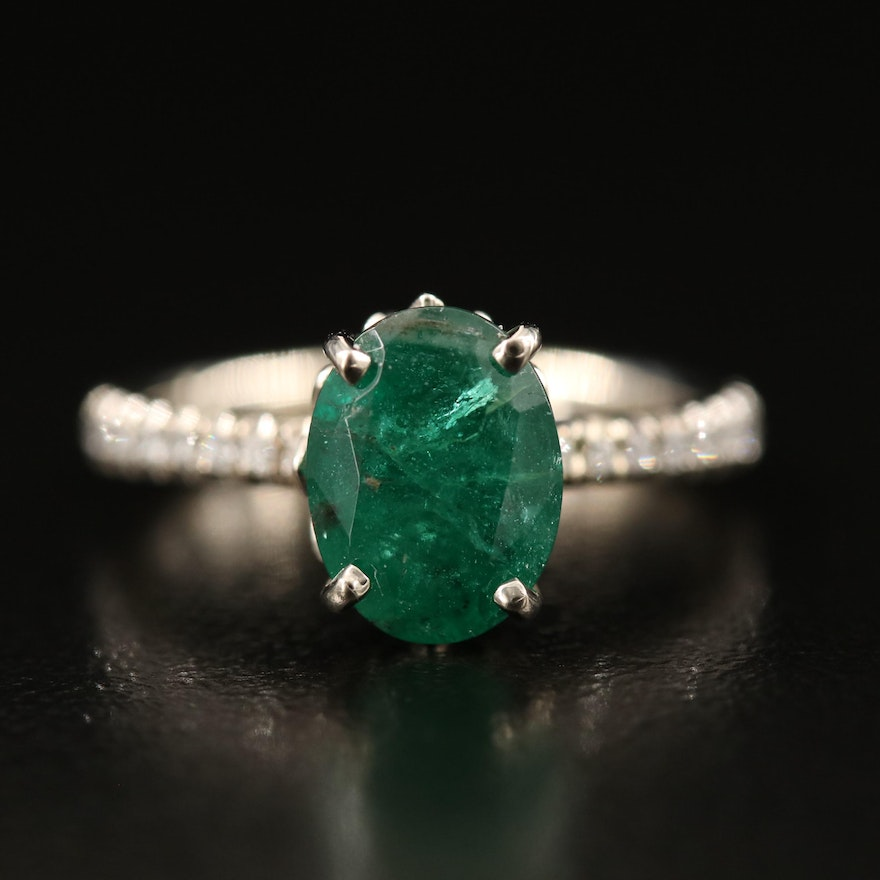 14K 2.11 CT Emerald and Diamond Ring with GIA Report