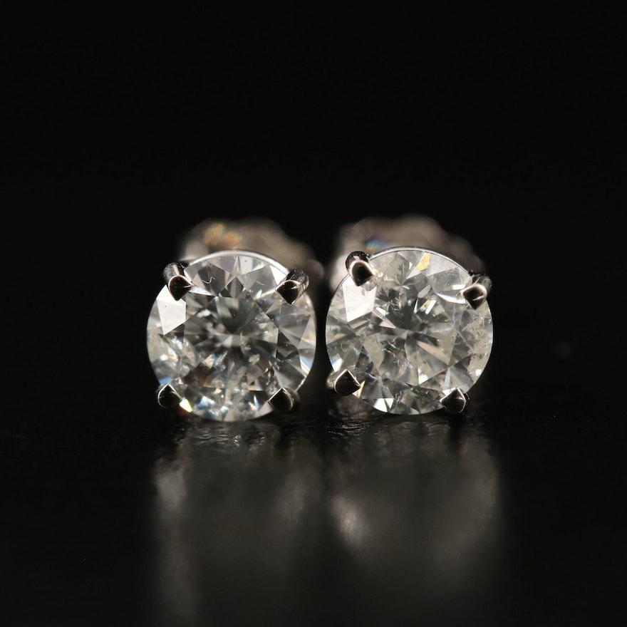 14K 1.56 CTW Diamond Stud Earrings with GIA Reports