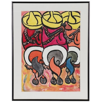 Gouache Painting of Mexican Revolutionaries on Horseback, 1995