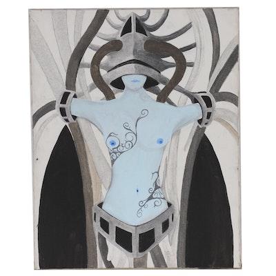 Female Nude Acrylic Painting, 21st Century