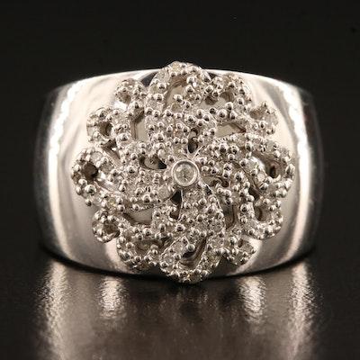 Sterling Silver Diamond Medallion Band