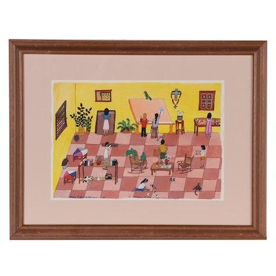 "Maria V. de Bernard Watercolor Painting ""En Mangeva La Casa Ligia Lerna"", 1993"