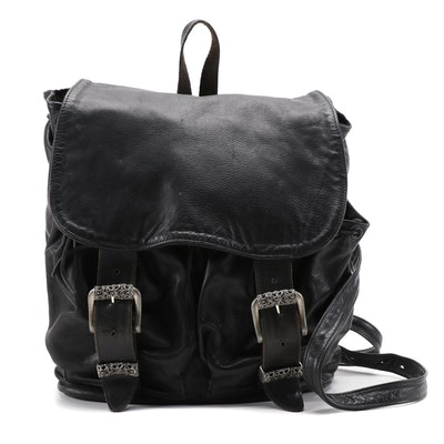 Jill Stuart New York Black Leather Backpack Purse