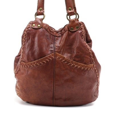 Lucky Brand Italian Leather Shoulder Bag with Variant Top Stitching Details
