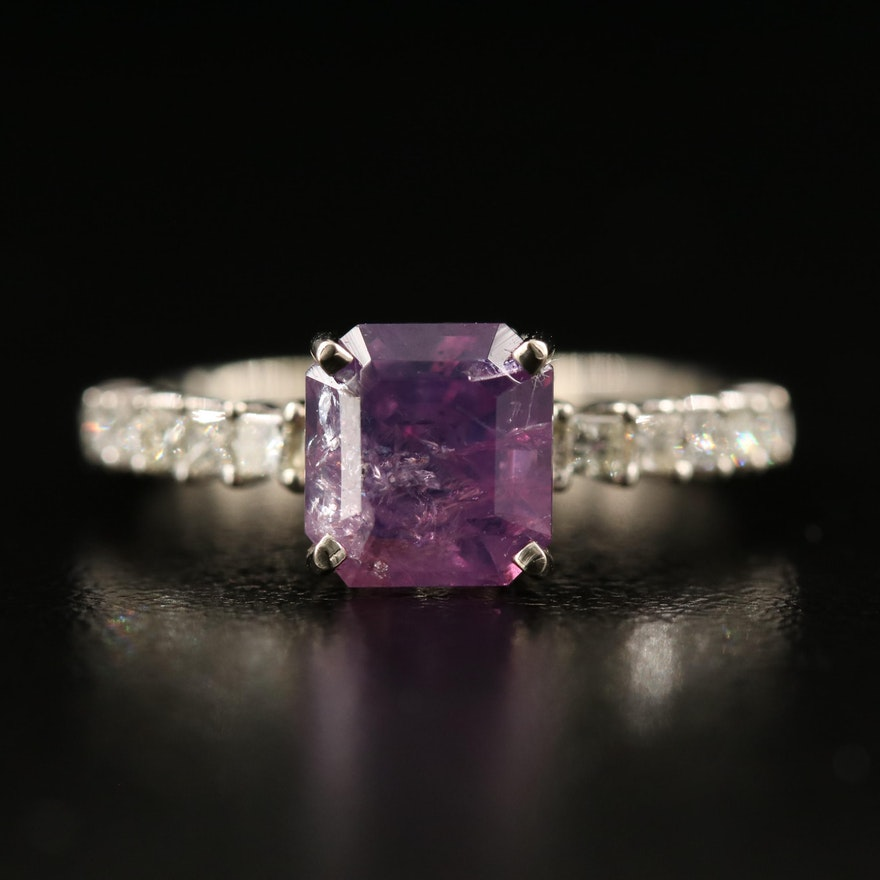 14K 2.47 CT Kashmir Sapphire and Diamond Ring with GIA Report