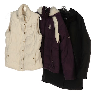 The North Face and Spyder Puffer Jackets with Banana Republic Vest