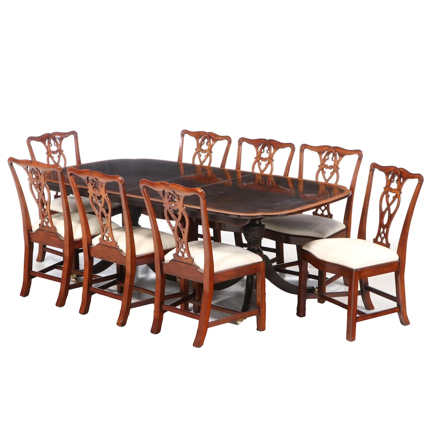 Stickley Classical Style Mahogany Dining Table with Maitland-Smith Chairs