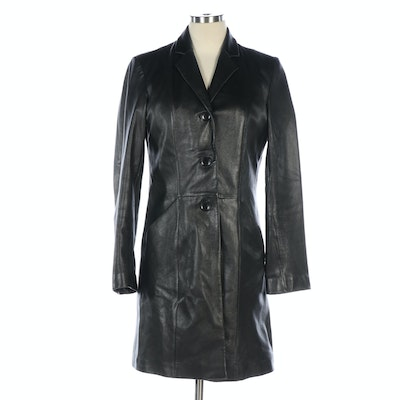 Women's WIlsons Leather Black Button-Front Long Jacket