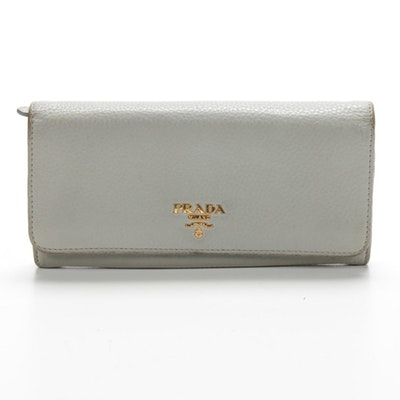 Prada Grey Pebbled Leather Long Wallet