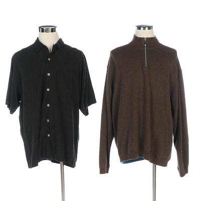 Men's Tommy Bahama Short Sleeve Button-Up and Long Sleeve Quarter Zip