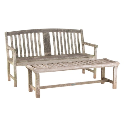 Oxford Garden and Smith & Hawken Slatted Wood Garden Benches