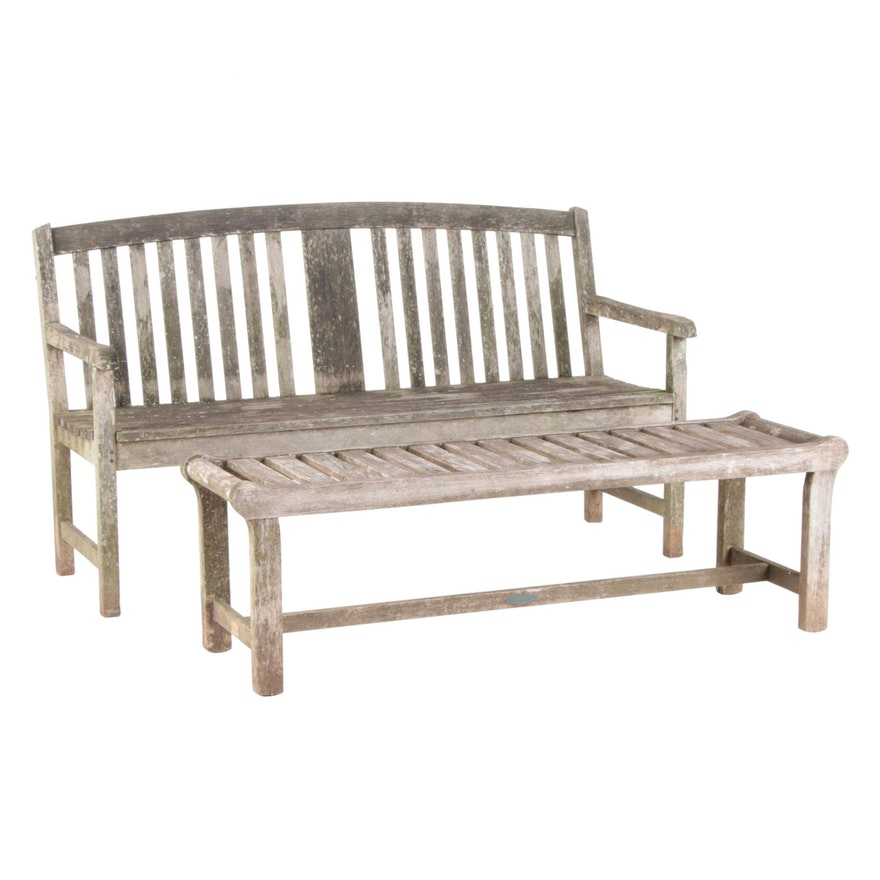 Oxford Garden and Smith & Hawken Slatted Wood Garden Benches