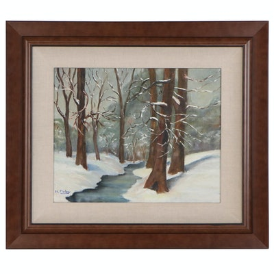 Winter Forest Interior Oil Painting, Late 20th to Early 21st Century