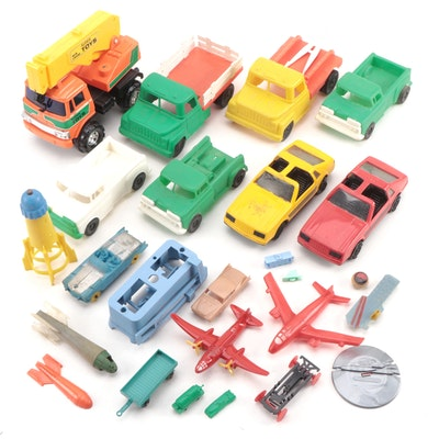 Plastic/Rubber Toy Vehicles and Aircraft, Mid-20th Century