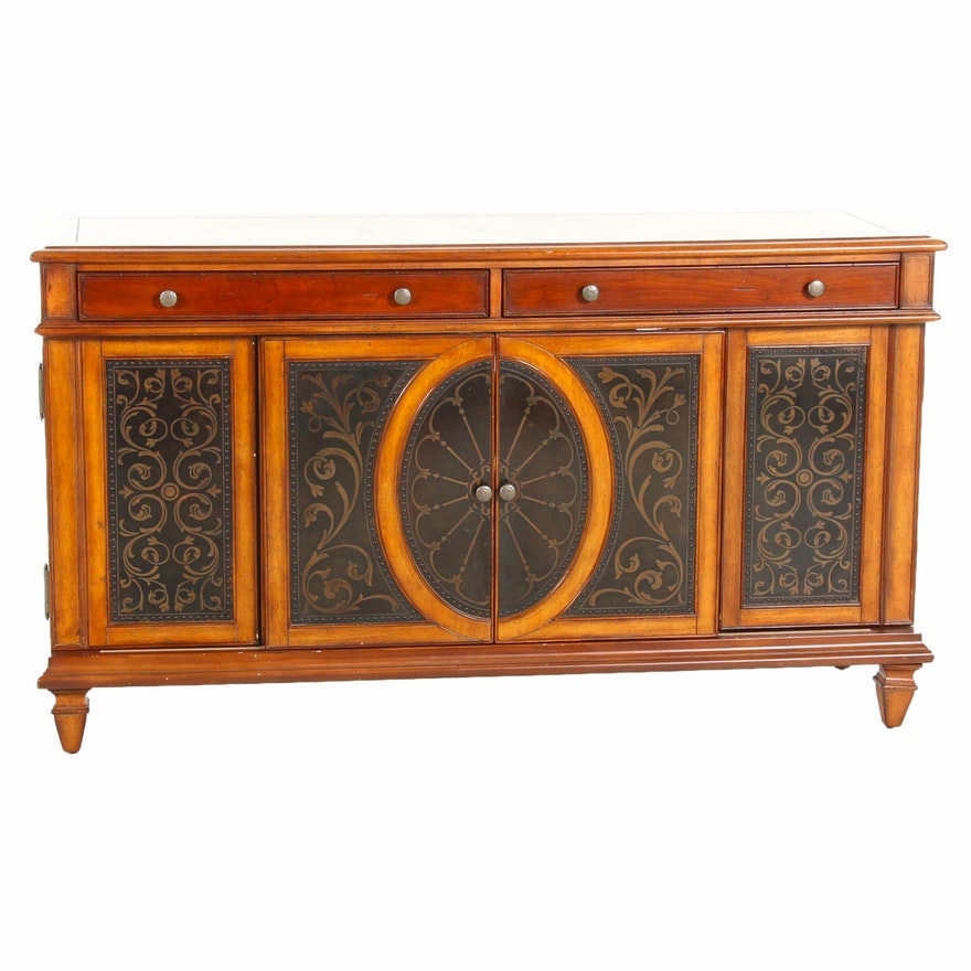 Artistica Mahogany-Finished and Paint-Decorated Wood Cabinet