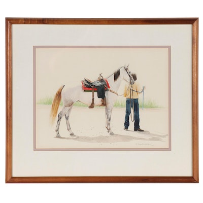 Watercolor Painting of Gray Horse with Figure, Late 20th Century