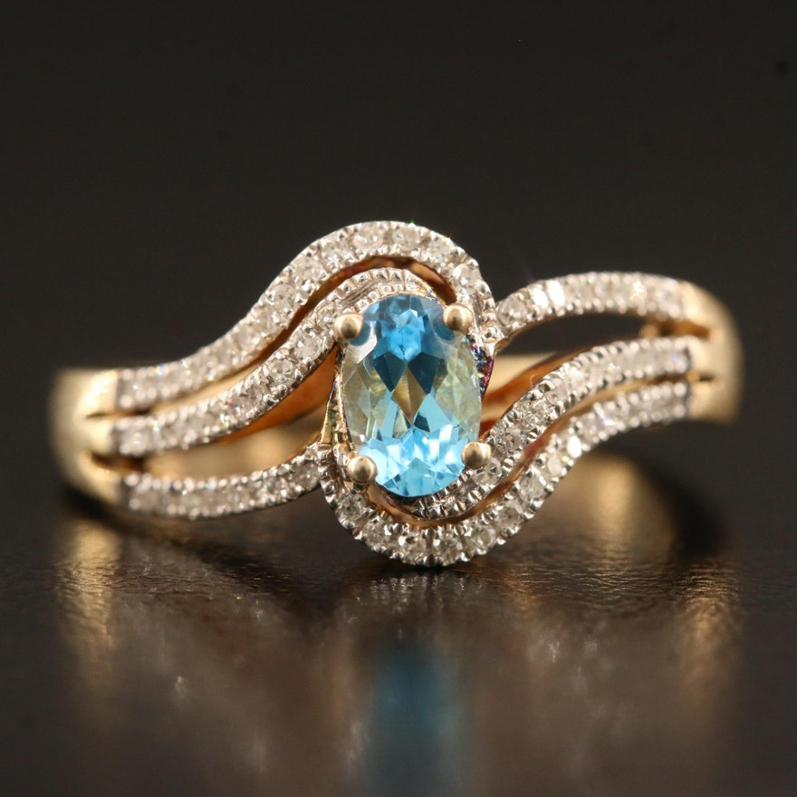 Sterling Topaz and Diamond Bypass Ring