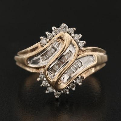 10K Diamond Ring Featuring Swirl Design