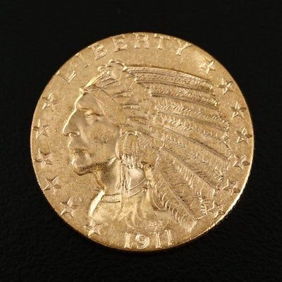 1911 Indian Head $5 Half Eagle Gold Coin