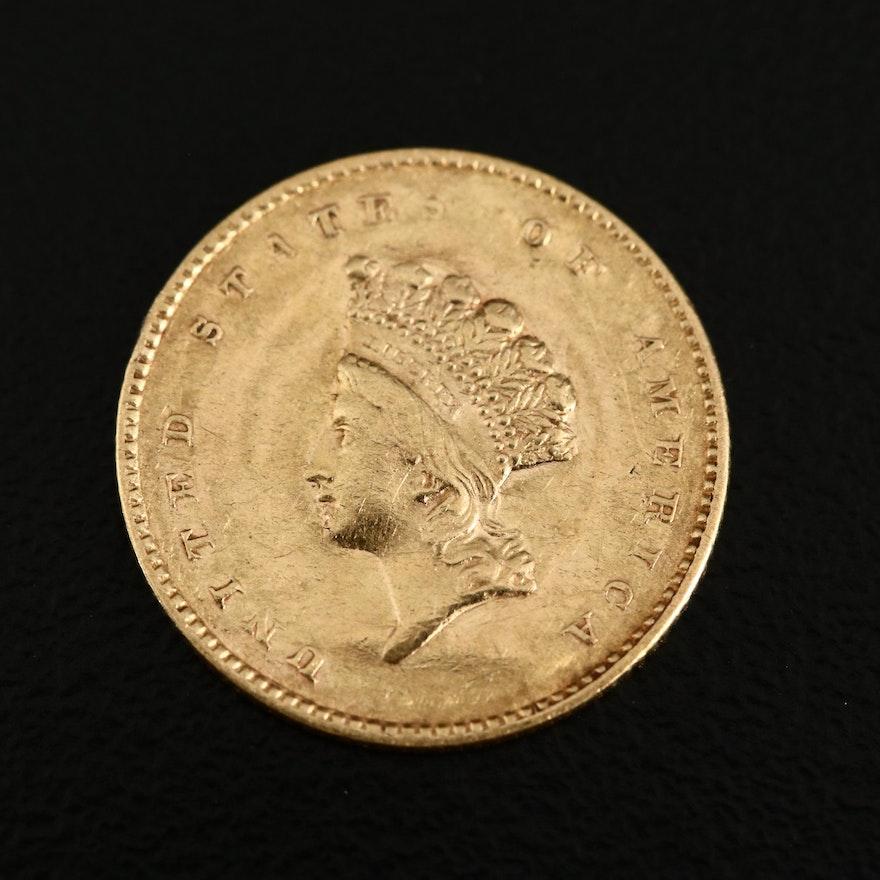 1855 Type II Indian Princess Head $1 Gold Coin